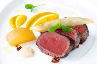 Coopershill House Irish Venison loin with pumpkin pur?e and a black pudding filo cigar