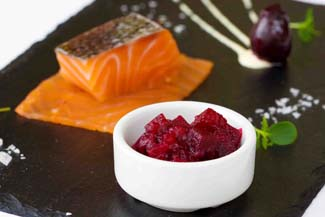 Whiskey cured smoked salmon with Janet?s Country Fayre Beetroot Blush and citrus mayonnaise