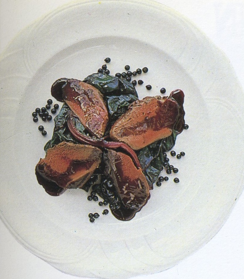 Breast of pigeon with red chard, sauce Beaujolais