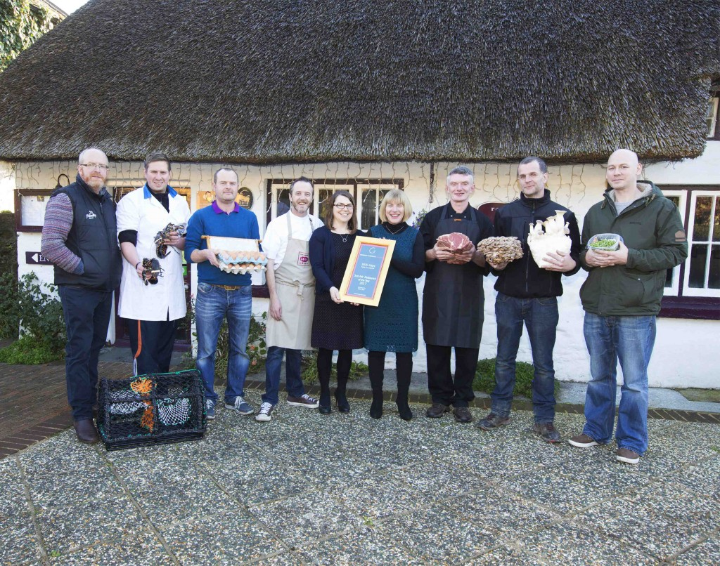 1826 Adare, Co Limerick; owners Wade and Elaine Murphy (centre left)  with Maureen Gahan, Bord Bia and some of  1812's suppliers. L to R: Ronan Byrne, Friendly Farmer (Chicken), Co Galway,  Cathal Sexton, CS Fish Ltd. (Lobster) , Co. Clare, Garrett Landers, Garrett Butchers (Meat),  Limerick,  Mark Cribbin, Ballyhoura Mountain Mushrooms Ltd., Co.Cork and  Gavan Walsh, The Little Green Co., Co Limerick. Image Liam Burke Press 22